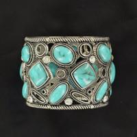 Women's Jewelry Bracelet Studs Silver Turquoise