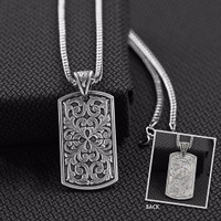 "Men's Necklace Rectangle Lobster Claw 24"" Silver"
