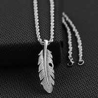 "Mens Necklace Feather Lobster Claw 24"" Silver"