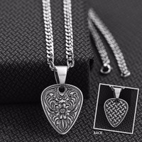 Men's Jewelry Necklace Guitar Pick Basket Silver