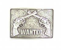 Nocona Women's Belt Buckle Wanted Rhinestones Silver