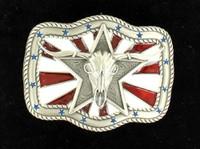 Nocona Star Skull Flag Silver Black Belt Buckle