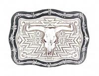 Rectangle Steer Skull Silver Black Belt Buckle