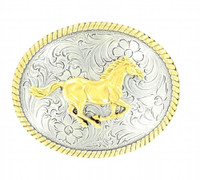 Nocona Running Horse Gold Belt Buckle