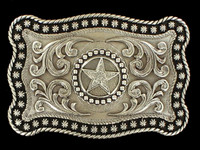 Nocona Star Rope Edge Silver Belt Buckle