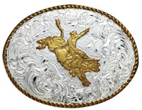 Gold Plated Bullrider Belt Buckle