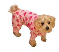 Ethical Heart Fleece Dog PJ'S - Pink