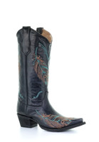 Corral Women's Feather Embroidered Cowboy Boot  Black