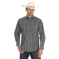 Wrangler Men's Checotah® Dress Western Long Sleeve Shirt - Black-White