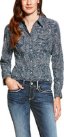 Ariat Women's  Paisley Snap Shirt - Navy Blue