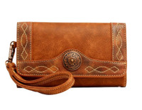 Blazin Roxx Women's Ivy Clutch Copper Concho Western Wallet Tan