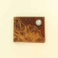 Ariat Men's Distressed Tooled Overlay Bi-Fold Western Wallet  Brown