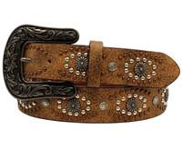 Nocona Women's Women's Leather Distressed Studs Western Belt