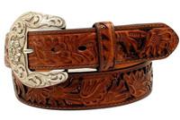 Nocona Western Belt Womens Leather Underlays Laced