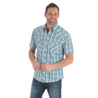 Wrangler Men's Fashion Snap Short Sleeve Shirt - Turquoise
