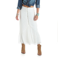 Wrangler Women's Skirt With Buttons- White