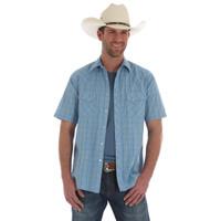 Wrangler Men's Snap Short Sleeve Shirt - Blue