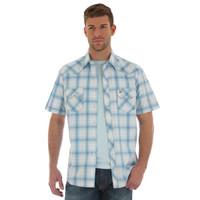 Wrangler Men's Retro Short Sleeve Shirt - Light Blue
