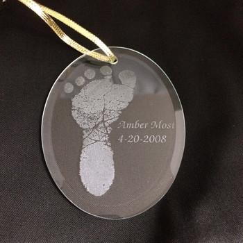 Oval Footprint Baby Ornament