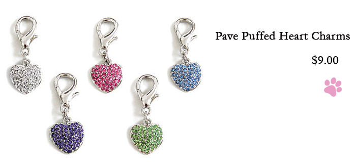 Pave Puff Heart Charms