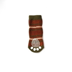 Maroon Striped Pet Socks