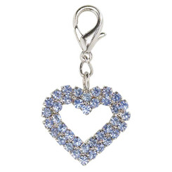 Blue Rhinestone Heart Collar Charm