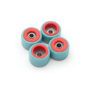 FlatFace Dual Durometer Bearing Wheels - Red/Turquoise