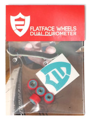 FlatFace Dual Durometer Bearing Wheels - Turquoise/Red