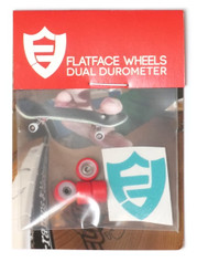 FlatFace Dual Durometer Bearing Wheels - White/Red