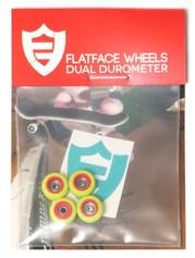 FlatFace x Oak Dual Durometer Bearing Wheels - Red/Acid Green