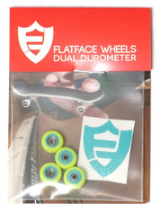 FlatFace x Oak Dual Durometer Bearing Wheels - Turquoise/Acid Green
