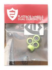 FlatFace x Oak Dual Durometer Bearing Wheels - Black/Acid Green