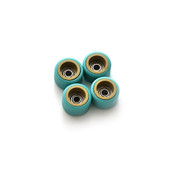 FlatFace Dual Durometer Bearing Wheels - Gold/Turquoise