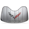 Corvette Logo Accordion Style Sunshade - Insulated Silver : C7 Stingray, Z51, Z06, Grand Sport