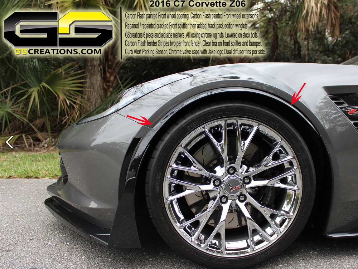 C7 Corvette GM C7 Z06 Front Wheel Opening Moldings Spats Painted Carbon Flash - GScreations