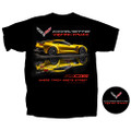 C7 Stingray / Z06 Where Track Meets Street Tee T-Shirt Black Cotton