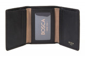 Bosca Tacconi Mens Single I.D. Trifold Leather Wallet