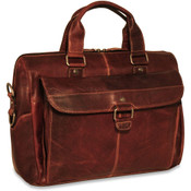 "Jack Georges Voyager Leather Top Zip 15"" Laptop Briefcase w/ Front Flap"