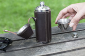 Kikkerland Leather Covered 8oz. Stainless Steel Camping Flask & 2 Shot Glasses