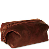 Jack Georges Voyager Leather Dopp Toiletry Kit - Brown