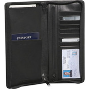 Bosca American Nappa Leather Zippered Flight Attendant Travel Wallet - Black