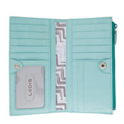 Lodis Audrey Tess Womens Snap Leather Wallet - Jade