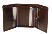 iLi Mens RFID Buffalo Leather Trifold Wallet w/ ID Window