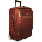 "Jack Georges Voyager Collection 22"" Leather Wheeled Carry On - Brown"