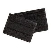 Boconi Tyler Tumbled Cash Stash Mens RFID Leather Card Case Wallet - Black