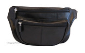iLi Leather Travel Waist Pack w/ Leather Strap - Black