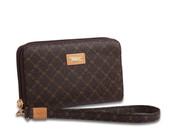 Rioni Womens Zippered Wallet Wristlet Organizer - Signature Brown