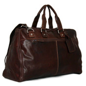 """Jack Georges Voyager Leather Valet 19"""" Convertible Duffle Garment Bag Brown"""