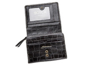 "Bosca Vintage Crocco Zippered 5"" French Purse - Dark Brown"