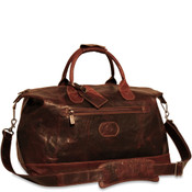 "Jack Georges Voyager Collection 19"" Leather Duffel Cabin Bag - Brown"